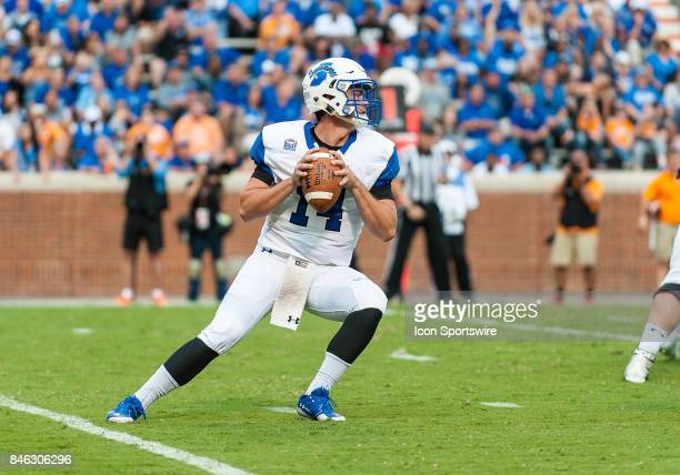 Indiana State Sycamores quarterback Isaac Harker drops back for a pass during a game between the Indiana State Sycamores and Tennessee Volunteers on...