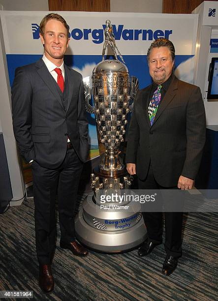 Indianapolis 500 winner Ryan HunterReay and team owner Michael Andretti poses with the BorgWarner Trophy at The Renaissance Center on January 14 2015...