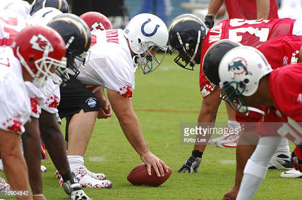 Indianapolis Colts center Jeff Saturday snaps ball at line of scrimmage during NFL Pro Bowl AFC Practice at the Ihilani Resort in Kapolei HI on...
