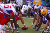 Indianapolis Colts center Jeff Saturday snaps ball at line of scrimmage during 3128 victory over the NFC in the NFL Pro Bowl at Aloha Stadium in...