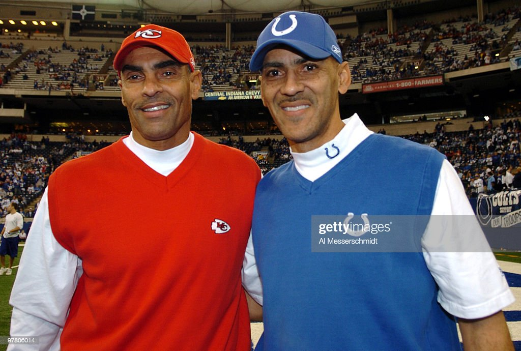 Indianapolis Colts coach Tony Dungy with Kansas City Chiefs coach Herman Edwards pose together prior to the 2007 AFC Wild Card Playoff game on...