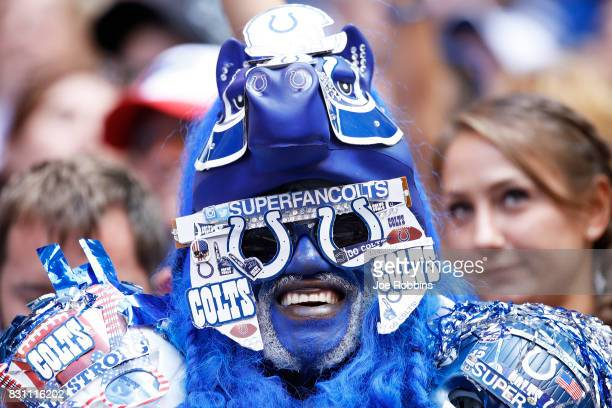 Indianapolis Colts fan looks on against the Detroit Lions in the second half of a preseason game at Lucas Oil Stadium on August 13 2017 in...