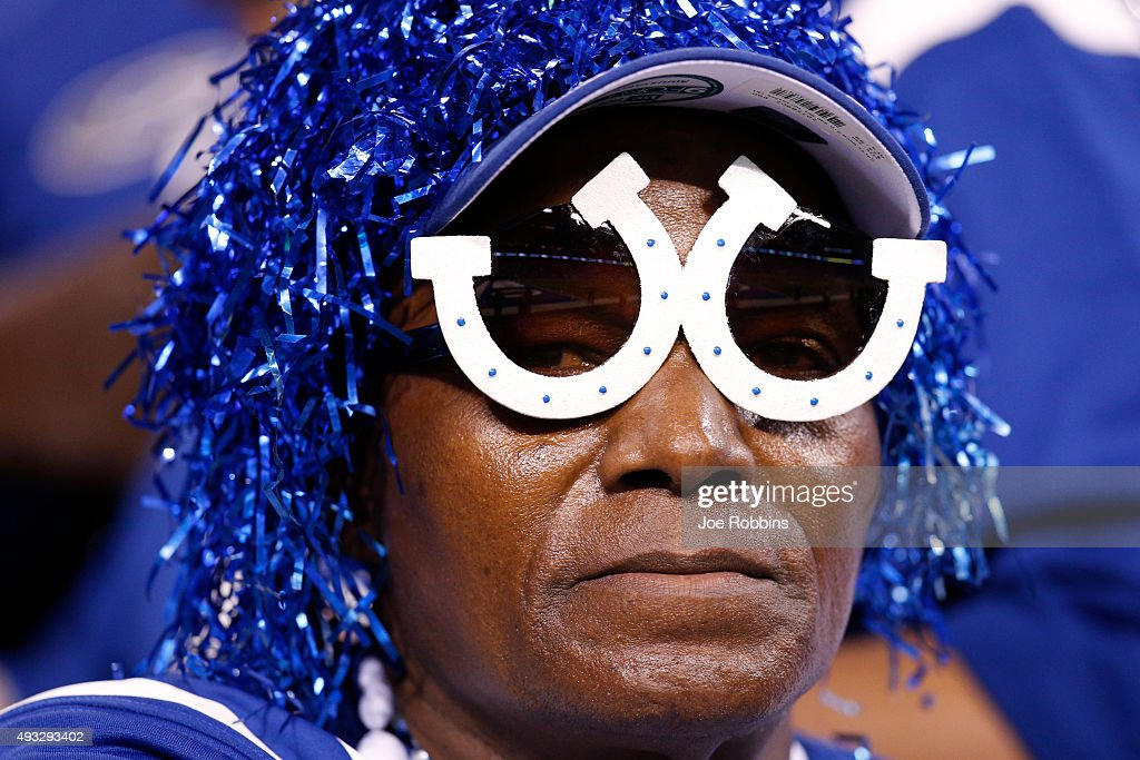 Indianapolis Colts fan reacts in the second quarter of the game against the New England Patriots at Lucas Oil Stadium on October 18 2015 in...