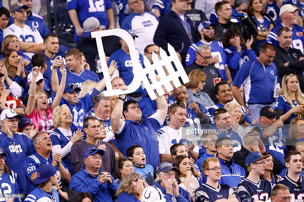 Indianapolis Colts fans cheer on the defense in the second half of the game against the New England Patriots at Lucas Oil Stadium on October 18 2015...