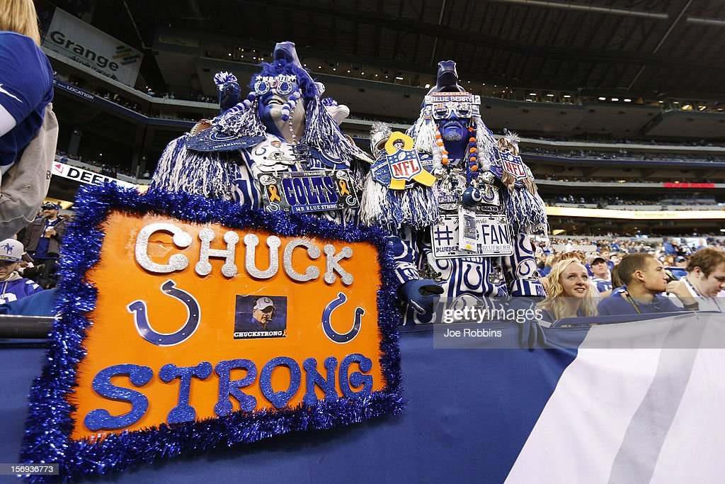 Indianapolis Colts fans show support for head coach Chuck Pagano before the game against the Buffalo Bills at Lucas Oil Stadium on November 25, 2012 in Indianapolis, Indiana.