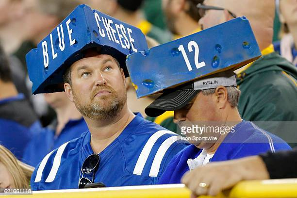 Indianapolis Colts fans with their Blue Cheese Heads during an NFL football game between the Indianapolis Colts and the Green Bay Packers on November...