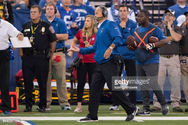 Indianapolis Colts head coach Chuck Pagano throws a challenge flag during the NFL game between the Arizona Cardinals and Indianapolis Colts on...