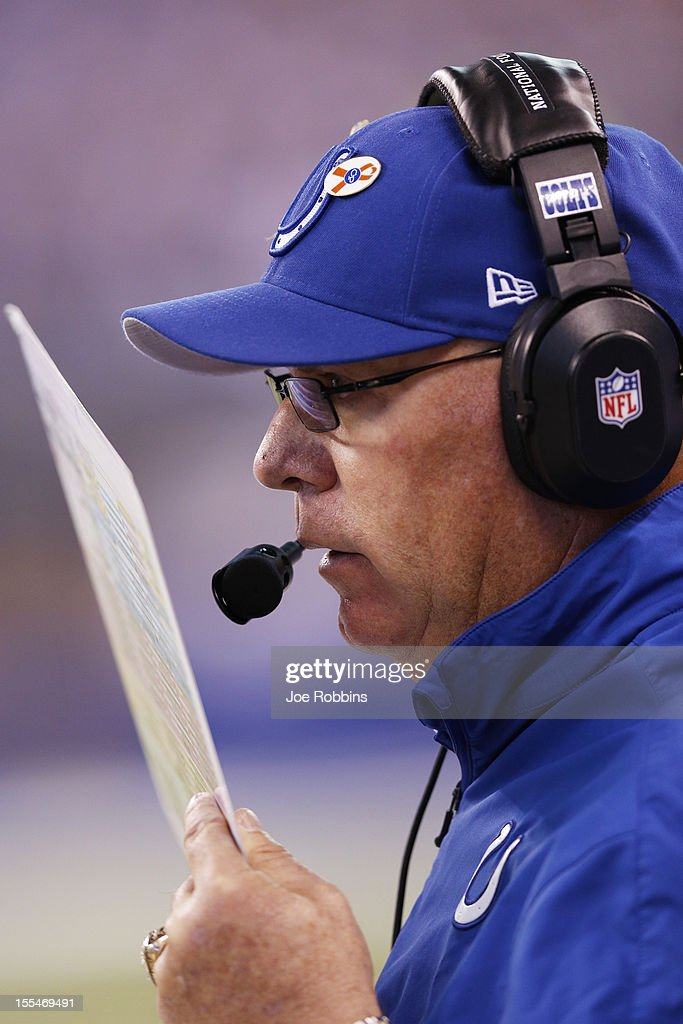 Indianapolis Colts interim coach Bruce Arians looks on against the Miami Dolphins during the game at Lucas Oil Stadium on November 4, 2012 in Indianapolis, Indiana.