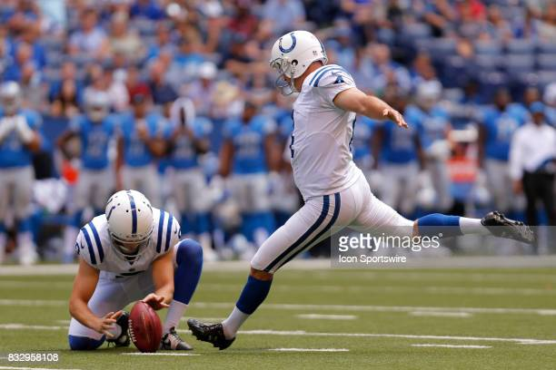 Indianapolis Colts kicker Adam Vinatieri connects on a 42 yard field goal during the NFL preseason week 1 game between the Detroit Lions and the...
