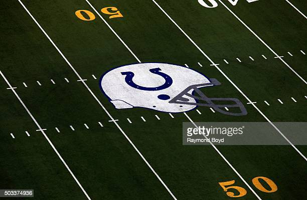 Indianapolis Colts logo at midfield at Lucas Oil Stadium home of the Indianapolis Colts football team on December 22 2015 in Indianapolis Indiana