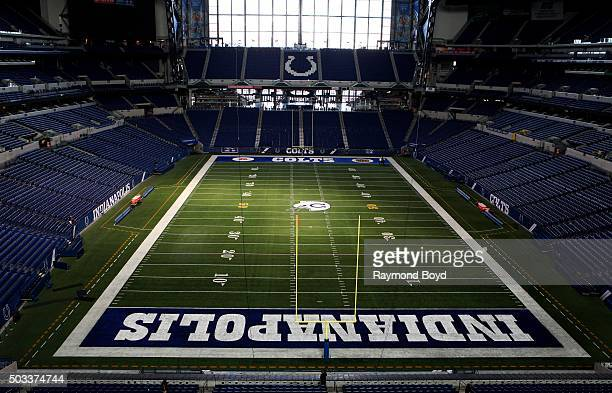 Indianapolis Colts playing field at Lucas Oil Stadium home of the Indianapolis Colts football team on December 22 2015 in Indianapolis Indiana