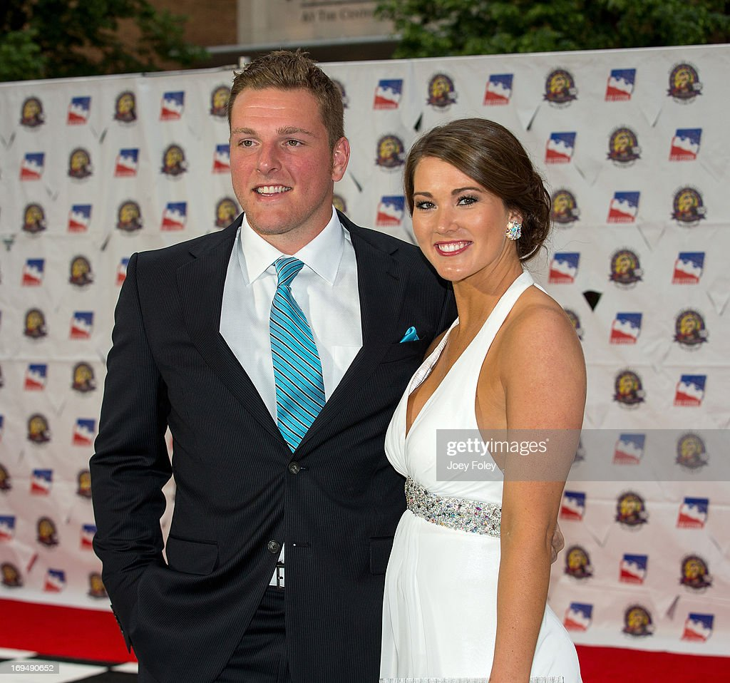 Indianapolis Colts punter Pat McAfee (L) attends the 2013 Indy 500 Snakepit Ball at Indiana Roof Ballroom on May 25, 2013 in Indianapolis, Indiana.