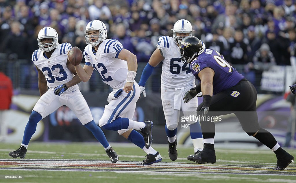 Indianapolis Colts quarterback Andrew Luck (12) scrambles as Baltimore Ravens defensive end Haloti Ngata (92) defends during the second half of their AFC playoff game in Baltimore, Maryland, on Sunday, January 6, 2013. The e Ravens won 24-9.
