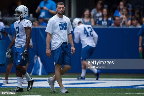 Indianapolis Colts quarterback Andrew Luck watches practice during the Indianapolis Colts training camp on July 30 2017 at Lucas Oil Stadium in...
