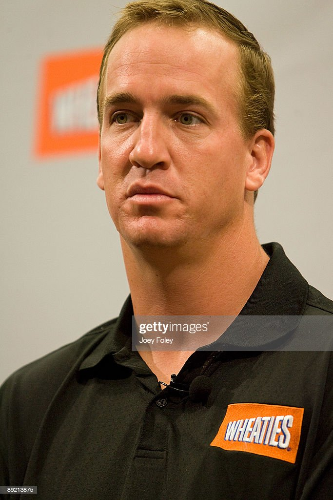 Indianapolis Colts quarterback Peyton Manning talks about the process of creating a new Wheaties breakfast cereal during a press conference at Conseco Fieldhouse on July 23, 2009 in Indianapolis, Indiana.
