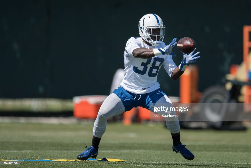 Indianapolis Colts running back Christine Michael (38) runs through a drill during the Indianapolis Colts OTA's on June 6, 2017 at the Indiana Farm Bureau Football Center in Indianapolis, IN.