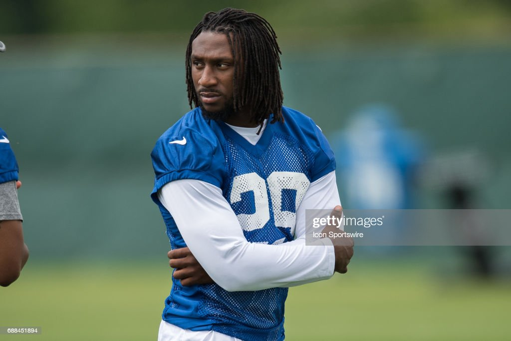 Indianapolis Colts safety Malik Hooker (29) watches from the sidelines during the Indianapolis Colts OTA's on May 23, 2017 at the Indiana Farm Bureau Football Center in Indianapolis, IN.