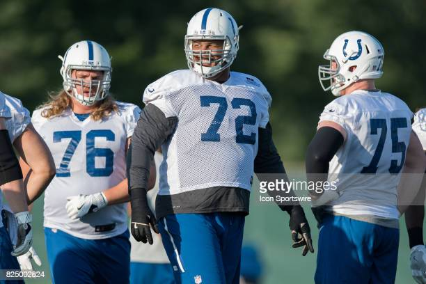 Indianapolis Colts tackle Zach Banner runs through a drill during the Indianapolis Colts training camp on July 31 2017 at Lucas Oil Stadium in...