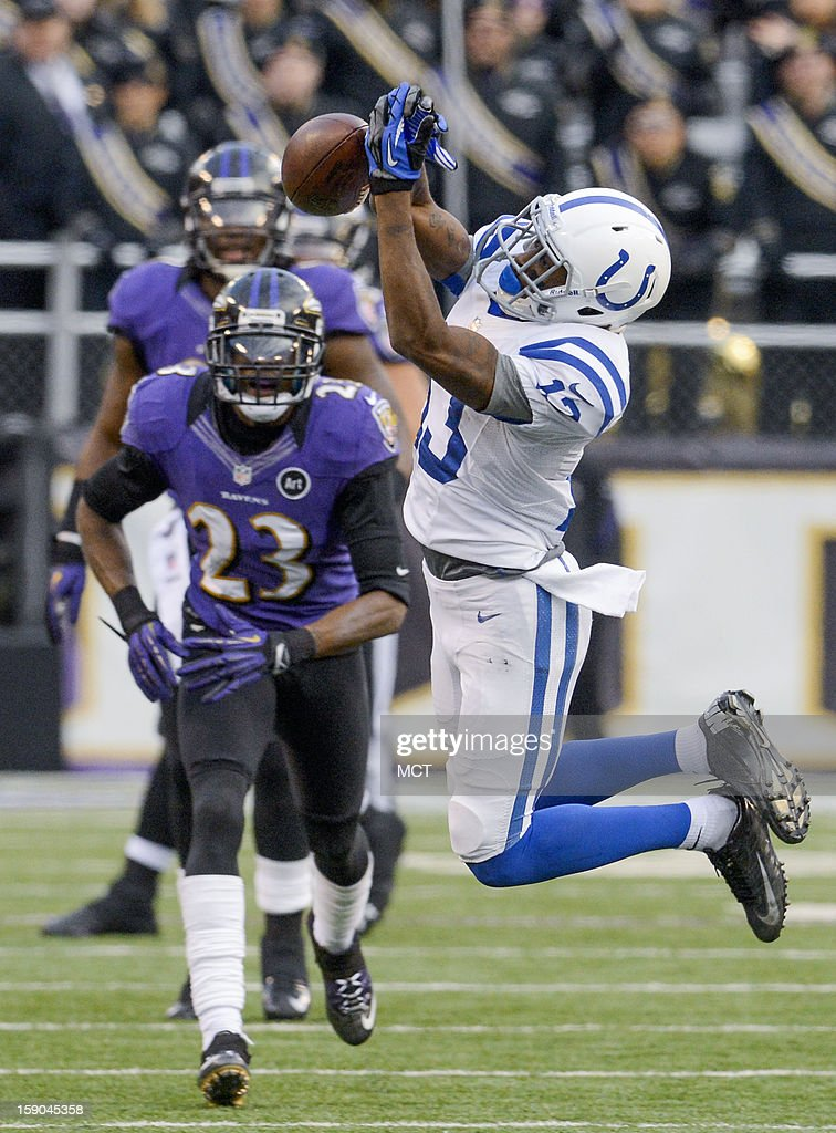 Indianapolis Colts wide receiver LaVon Brazill can't come up with a pass from teammate Andrew Luck late in the second half of their AFC playoff game in Baltimore, Maryland, on Sunday, January 6, 2013.
