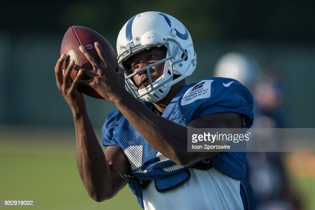 Indianapolis Colts wide receiver Phillip Dorsett runs through a drill during the Indianapolis Colts training camp practice on August 16 2017 at the...