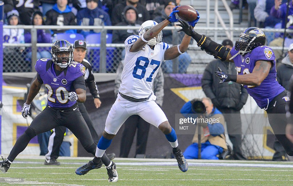 Indianapolis Colts wide receiver Reggie Wayne makes a 20 yard reception for a first down just ahead of Baltimore Ravens inside linebacker Ray Lewis during the second half of their AFC playoff game in Baltimore, Maryland, on Sunday, January 6, 2013.