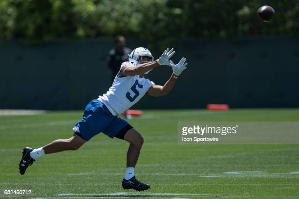 Indianapolis Colts wide receiver Trey Griffey catches a pass during the Indianapolis Colts Rookie Camp on May 12 2017 at the Indiana Farm Bureau...
