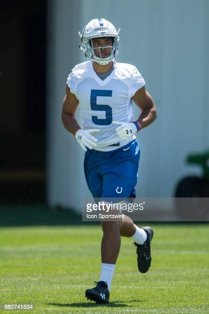 Indianapolis Colts wide receiver Trey Griffey during the Indianapolis Colts Rookie Camp on May 13 2017 at the Indiana Farm Bureau Football Center in...