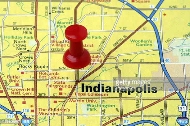 Indianapolis, Indiana on a map.