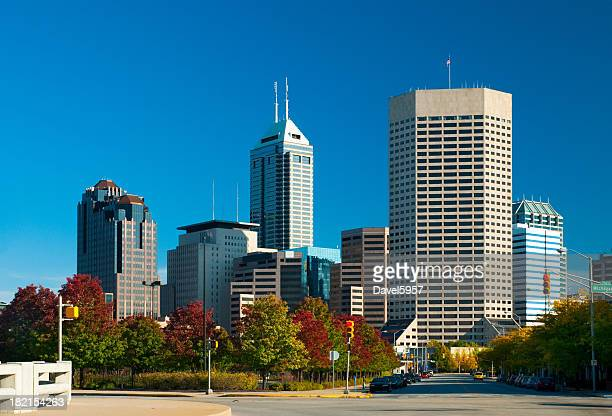 Indianapolis skyline and autumn trees