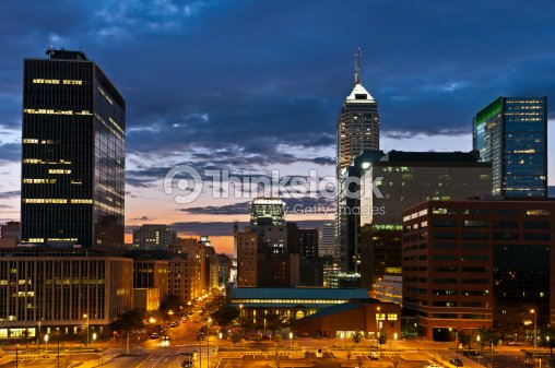 Indianapolis skyline at sunset. : Stock Photo