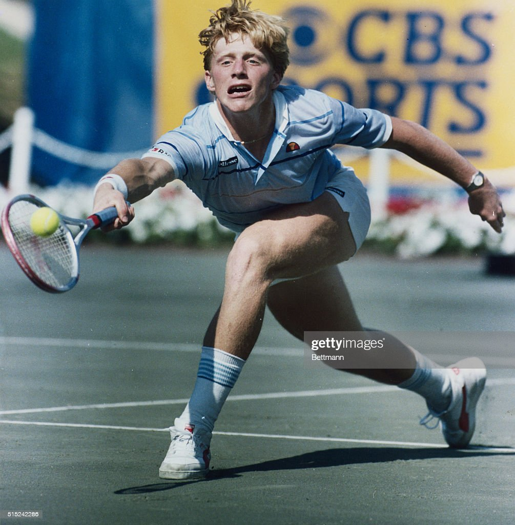 Boris Becker in Quick Tennis Action During Match