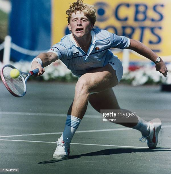U S Clay Courts Boris Becker of West Germany reaches out to hit forehand return near the net to Ivan Lendl of Czechoslovakia 7/27 during their...