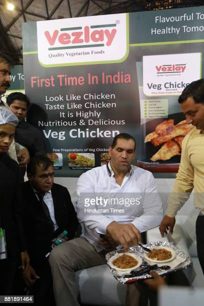 Indianborn American wrestler The Great Khali during visit to the trade fair at Pragati Maidan for promotional activity at the fair on November 27...