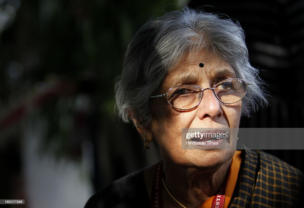 Indian-born British writer, literary critic and translator Lakshmi Holmstrom at the Jaipur Literature Festival on January 28, 2013 in Jaipur, India.