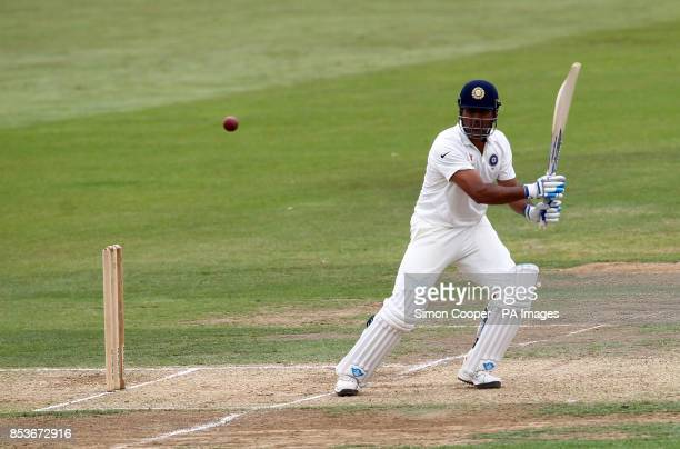 Indians' MS Dhoni bats during day two of the Internationa warm up match at The 3aaa County Ground Derby