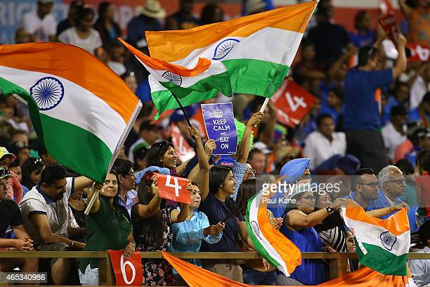 Indians fans show their support during the 2015 ICC Cricket World Cup match between India and the West Indies at WACA on March 6 2015 in Perth...