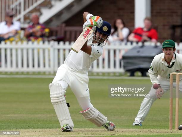 Indians' Gautam Gambhir bats during day one of the international warm up match at Grace Road Leicester