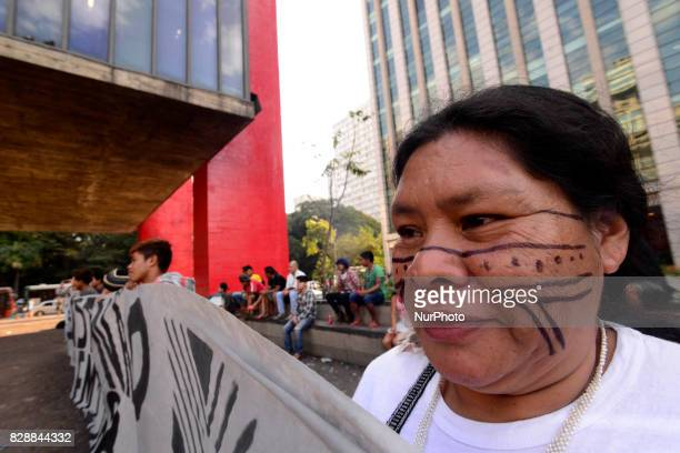 Indians protest in the free space of the Masp on Wednesday afternoon in São Paulo Brazil on August 9 2017 On August 16 the Federal Supreme Court will...