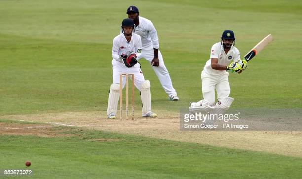 Indians' Ravindra Jadeja during day two of the International warm up match at The 3aaa County Ground Derby