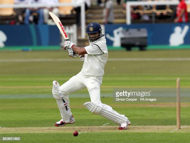 Indians' Shikhar Dhawan bats during day one of the international warm up match at Grace Road Leicester PRESS ASSOCIATION Photo Picture date Thursday...