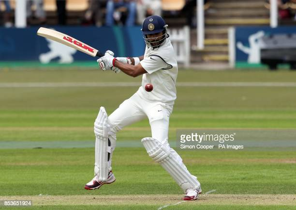 Indians' Shikhar Dhawan bats during day one of the international warm up match at Grace Road Leicester
