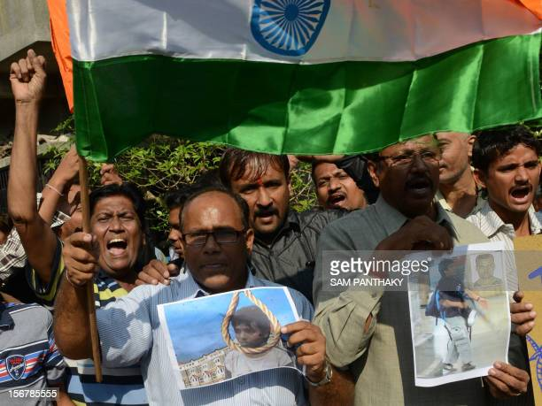 Indians shout antiPakistani slogans as they celebrate the execution of Pakistanborn Mohammed Kasab who was the sole surviving gunman of the 2008...