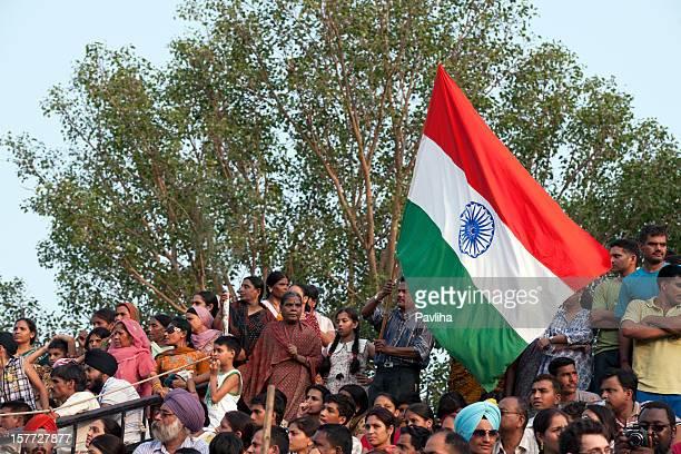 Indians Shouting during Flag Ceremony Pakistani Border
