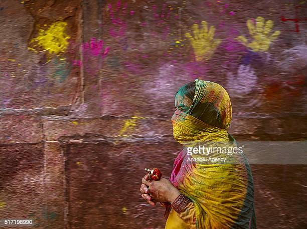 Indians take part in the Holi Festival celebrations in Vrindivan 120 km far from New Delhi India on March 24 2016 Holi the festival of colors is a...