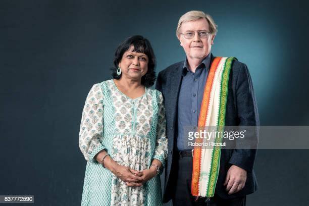 IndianScottish poet children's writer translator and editor Bashabi Fraser and Scottish poet and academic Alan Riach attend a photocall during the...