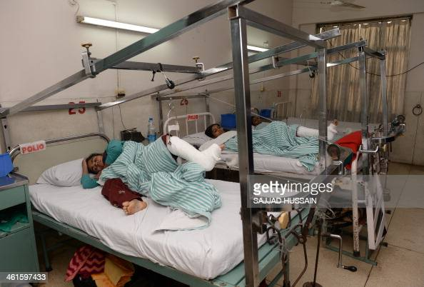 IndiapoliohealthFOCUS by Adam PLOWRIGHT In this picture taken on January 7 Indian polio patients lie on beds during treatment at St Stephens Hospital...