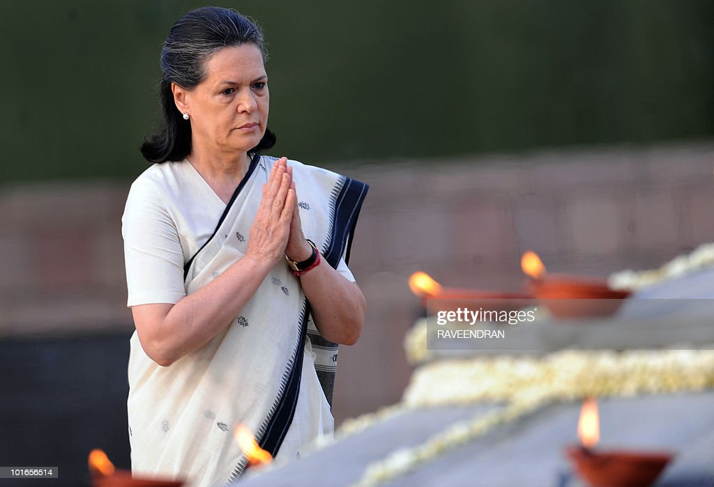 India-politics-book (FILES) In this May 21, 2009 photograph, Congress Party President and United Progressive Alliance (UPA) government coalition Chairman Sonia Gandhi (C) prays during a memorial ceremony for slain former Indian Prime Minister and husband Rajiv Gandhi on his 18th death anniversary in New Delhi. The author of a 'fictionalised biography' of Sonia Gandhi, the Italian-born power broker of Indian politics, has vowed to fight attempts to stop it being published, according to comments quoted in Indian media June 6, 2010. Javier Moro said allies of Gandhi were 'taking lines out of context and manipulating the text' as part of a campaign by India's elite to have the book banned and protect her from scrutiny.