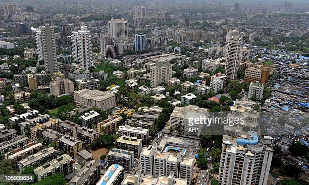 IndiapropertyhousingluxuryFEATURE by Salil Panchal Residential apartment blocks seen from an under construction luxury apartment tower in Mumbai on...