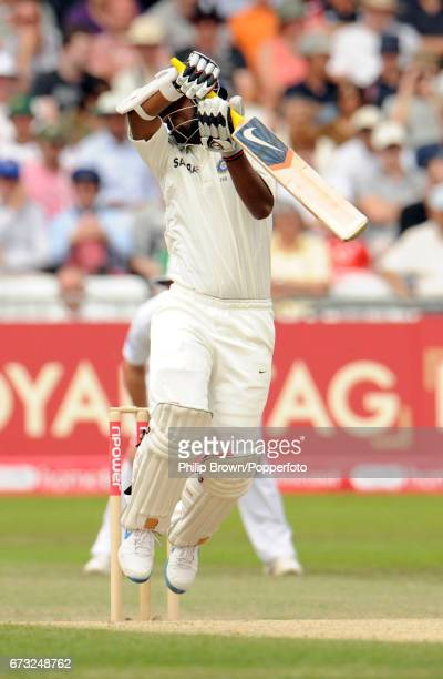 India's Abhinav Mukund is dismissed by England's Tim Bresnan during the 2nd Test match at Trent Bridge in Nottingham on August 1 2011
