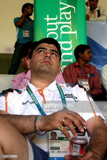 India's ace shooter Gagan Narang at the last shooting event of Commonwealth Games 2010 at Dr K Singh Shooting Range in New Delhi on October 13 2010